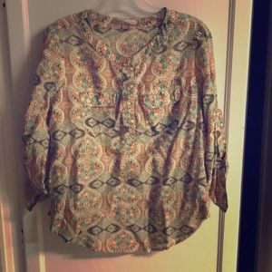 Forever 21 Bohemian Long Sleeve Button Blouse M